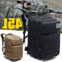 45L Outdoor Military Tactical Backpack Army Camping Travel H