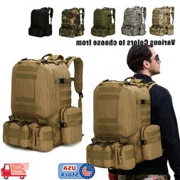 55L Outdoor Military Molle Tactical Backpack Rucksack Campin