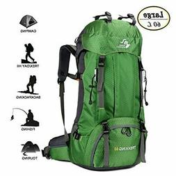 60L Waterproof Lightweight Hiking Backpack with Rain Cover,O