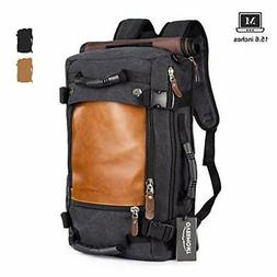 Overmont Canvas Travel Laptop Backpack Vintage Duffle Hiking