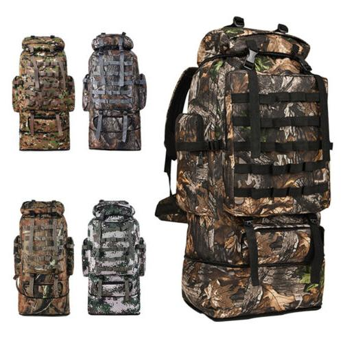 100l large camping backpack waterproof hiking military