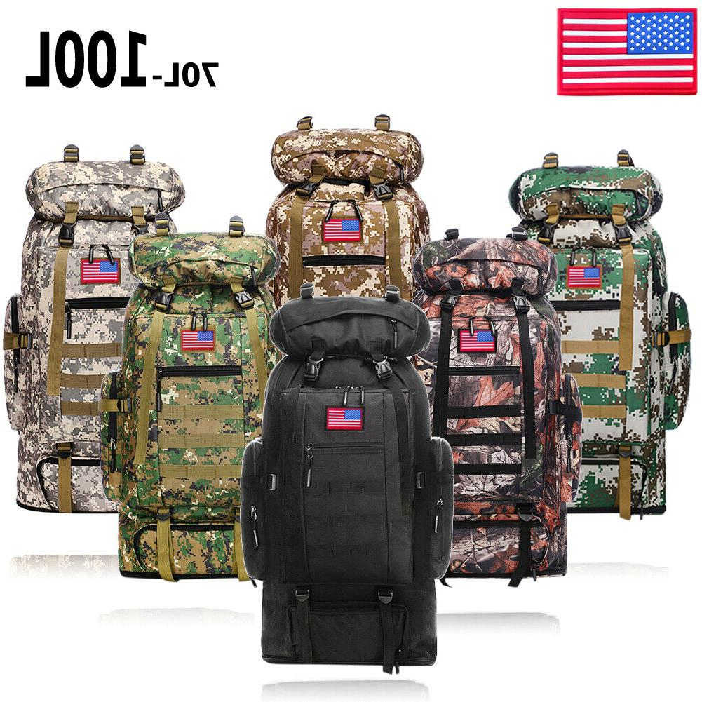 70L/100L Military Tactical Backpack Daypack Hiking Camping O