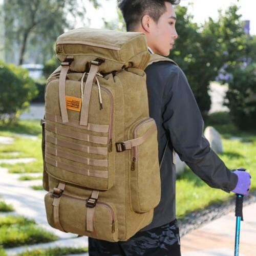 Men's 70L Hiking Trekking Canvas Backpack Military