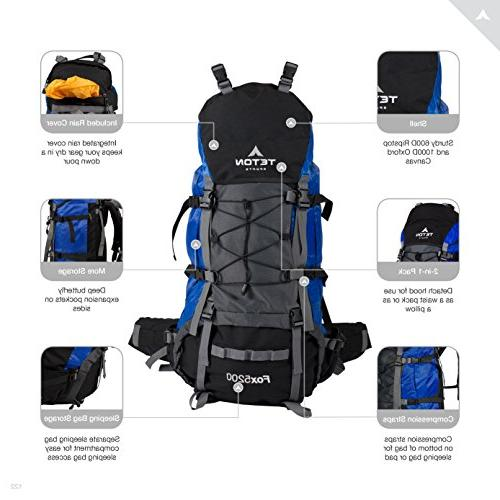 TETON Internal Backpack – Not High-Performance Backpack Backpacking, Hiking, Sewn-in Cover; Blue
