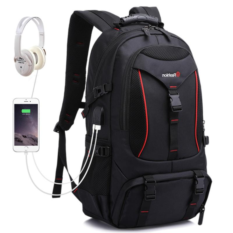 men outdoor hiking backpack sports travel usb