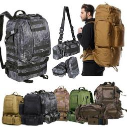 50L 3Pc Outdoor Military Rucksacks Tactical Backpack Camping